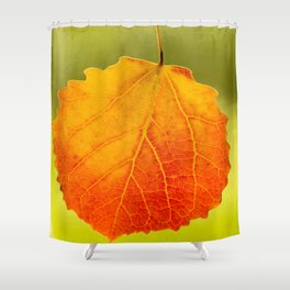Orange Leaf Vivid Green Background #decor #society6 #buyart Shower Curtain