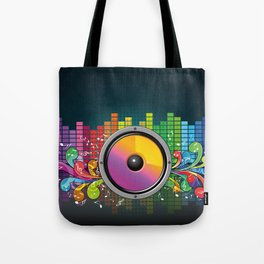 Colorful equalizer and music speakers illustration Tote Bag
