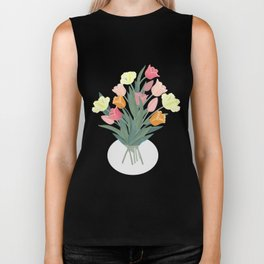 Bouquet of tulips in glass vase Biker Tank