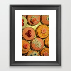 Heart and Floral Cupcakes Framed Art Print
