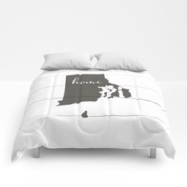 Rhode Island is Home - Charcoal on White Wood Comforters