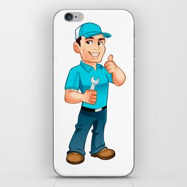 Handyman worker with key in the hand iPhone Skin