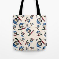 snowboarding Tote Bags featuring Too Cool to Penguin by Schwebewesen • Romina Lutz