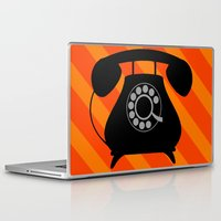 telephone Laptop & iPad Skins featuring telephone by vitamin