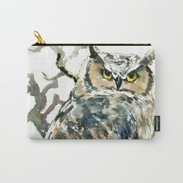 Great Horned Owl in Woods, woodland owl Carry-All Pouch