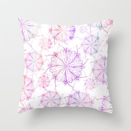 Hand painted pink lilac watercolor floral mandala Throw Pillow
