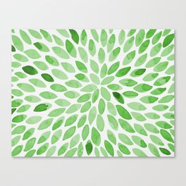 Watercolor brush strokes -  summer green Canvas Print