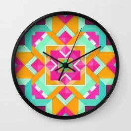 Geometric Tribal Mandala Inspired Modern Trendy Vibrant (Mint Green, Maroon, Wine, Hot Pink, Orange) Wall Clock