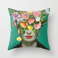 Throw Pillows featuring Frida Floral by Desirée Feldmann