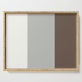 Benjamin Moore 2019 Color of Year Metropolitan, Mustang Brown, & Snowfall White Vertical Stripes Serving Tray