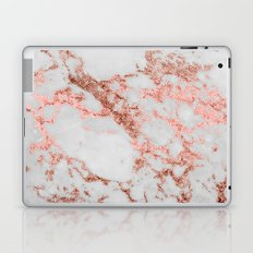 Stylish white marble rose gold glitter texture image Laptop & iPad Skin