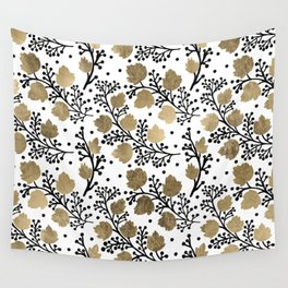Elegant black watercolor faux gold leaves floral Wall Tapestry