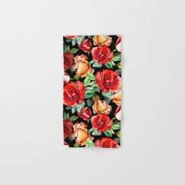 Hand painted black red watercolor roses floral Hand & Bath Towel