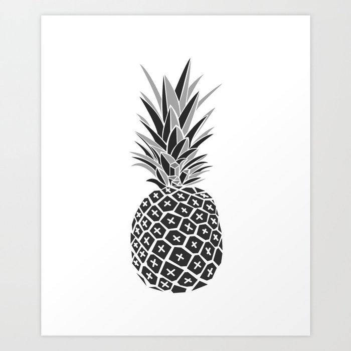 Minimalist Black White Pineapple Art Print By Minimallife Society6