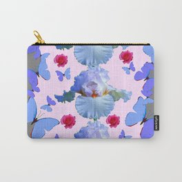 ROSES PASTEL IRISES BLUE-PURPLE BUTTERFLIES ABSTRACT Carry-All Pouch