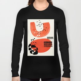 Fun Abstract Minimalist Mid Century Modern Orange Watercolor Orange Organic Shapes Long Sleeve T-shirt