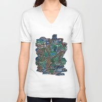 concrete V-neck T-shirts featuring Concrete Jungle  by AdrianWest