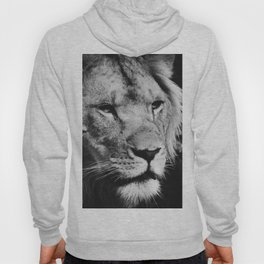 African Lion Black and White Photographic Print Hoody