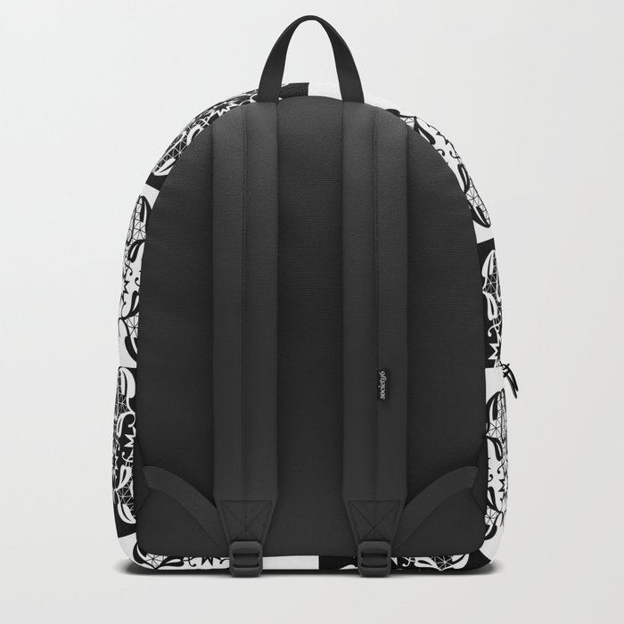 Black and white lace pattern . Backpack