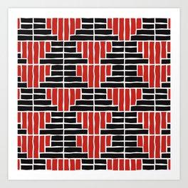 Red and Black Block Art Print