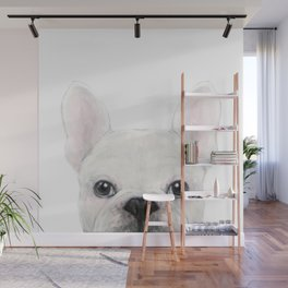 French bulldog white Dog illustration original painting print Wall Mural