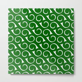 Swirls Green 2 Metal Print