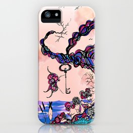 The Key is Within Black Inked Color Illustration iPhone Case