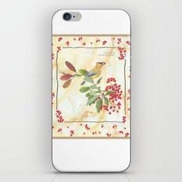 Cedar waxwing charm iPhone Skin