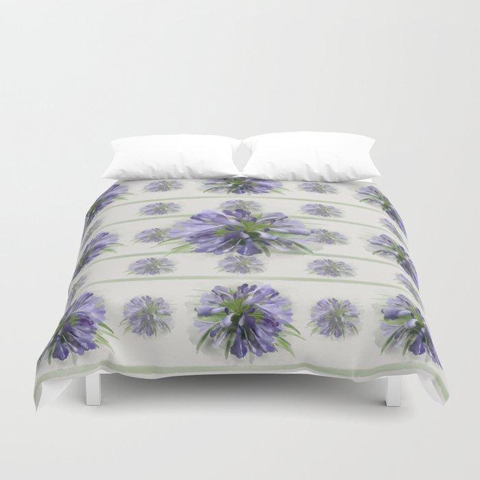 Blue purple flowers Duvet Cover