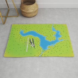 lake pend idaho Lake map Rug