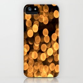 Golden Bokeh Light On A Black Background #decor #society6 iPhone Case