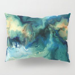 Abstract Blue Oil Painting Fractal Pillow Sham