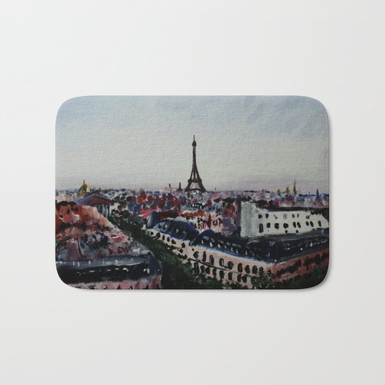 Paris Eiffel Tower Acrylics On Canvas Board Bath Mat