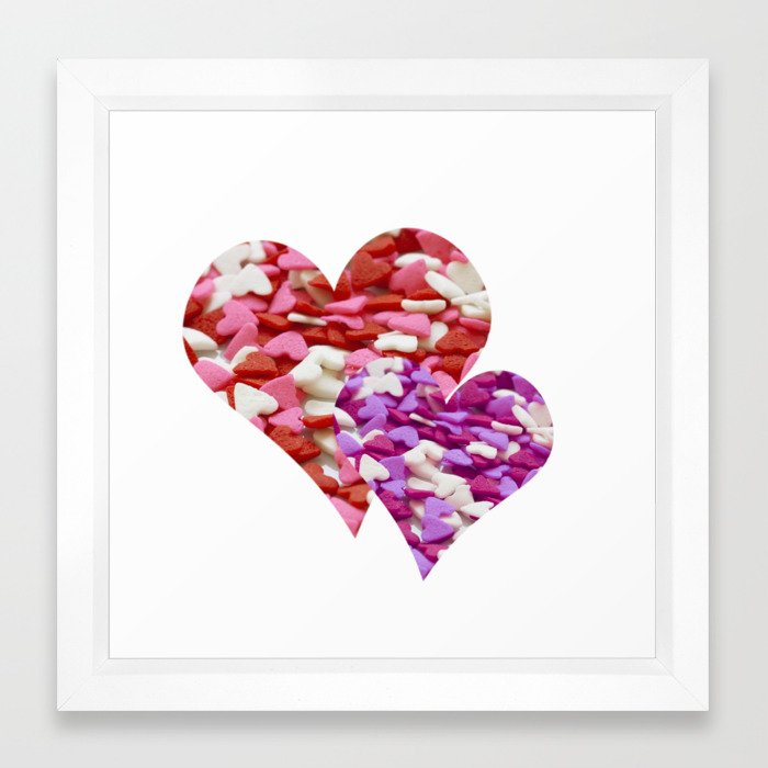 Two Candy Hearts - Pink, Red and Purple Valentine\'s Day Love Framed ...