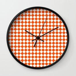 Small Diamonds - White and Dark Orange Wall Clock