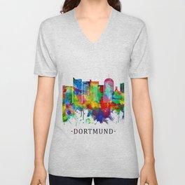 Dortmund Germany Skyline Unisex V-Neck