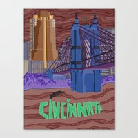 cincinnati Canvas Prints featuring Cincinnati by photosamyam