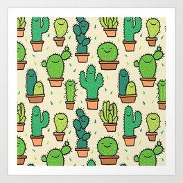 Cute Happy Cactus Cacti Pattern Art Print