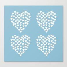 Hearts Heart x2 Light Blue Canvas Print
