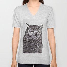 Black&White Owl Unisex V-Neck