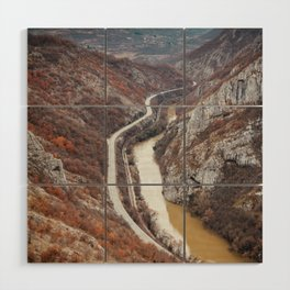 Beautiful picture of the canyon in Serbia. Dramatic sky and mountains Wood Wall Art
