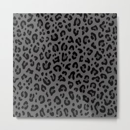 LEOPARD PRINT in Black & Gray / Collection : Leopard spots – Punk Rock Animal Print Metal Print