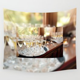 Wedding banquet champagne glasses Wall Tapestry