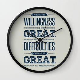 Lab No. 4 Where The Willingness Niccolo Machiavelli Inspirational Quotes Wall Clock