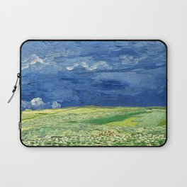 Wheatfield under thunderclouds by Vincent van Gogh Laptop Sleeve