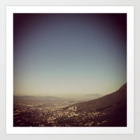 City that sits at the feet of her mountains Art Print
