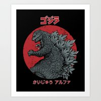 kaiju Art Prints featuring Gojira Kaiju Alpha by Pigboom Art