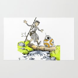 Bb8 and Rey Crossover Calvin and Hobbes Rug