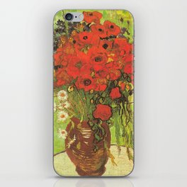 Still Life: Red Poppies and Daisies by Vincent van Gogh iPhone Skin