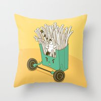 fries Throw Pillows featuring French fries by BIGMOUTH